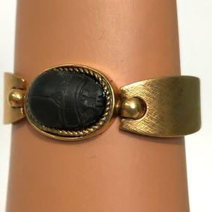 Gold carved beatle bracelet bangle costume jewlery